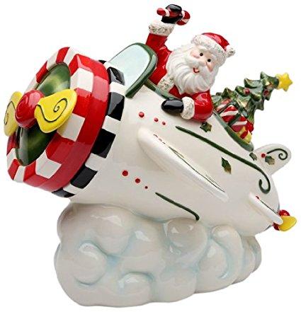 Cosmos Gifts 10653 Santa in Airplane Cookie Jar, 9-5/8-Inch