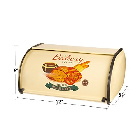 Hot Sales X459 Metal French Vintage Bread Box/Bin/kitchen Storage Containers/Home KitChen Gifts with Roll Top Lid (yellow)