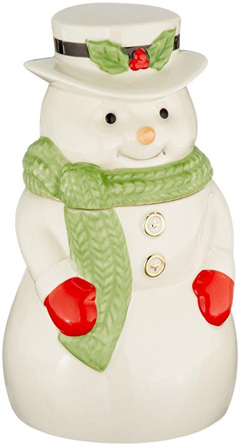 Lenox Snowman Treat Jar, Ivory
