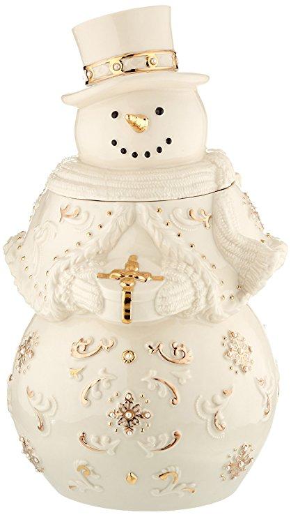 Lenox Florentine & Pearl Snowman Cookie Jar