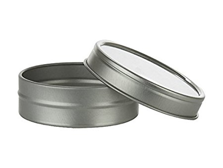 Nakpunar 24 pcs 1 oz Tin Containers with Clear Top