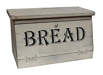 Farmhouse Rustic Bread Box with Distressed Buttermilk Finish