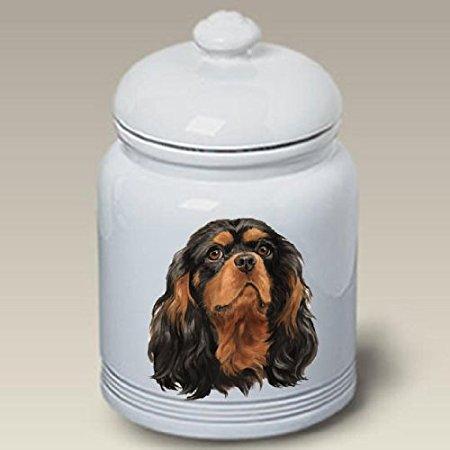 Cavalier King Charles Spaniel (Black and Tan): Ceramic Treat Jar 10
