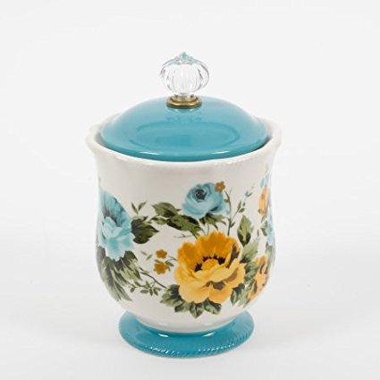 New 5 lb Rose Shadow 8.25-Inch Solid Teal Footed Floral Base Versatile and Stylish Canister w/ Acrylic Knob (1)