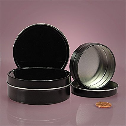 4 OZ BLACK SHALLOW ROUND TIN CAN-24/PACKAGE