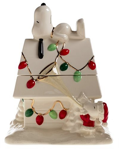 Lenox Snoopy's Christmas Earthenware Cookie Jar