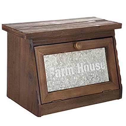 Farmhouse Bread Box for Kitchen Counter - Rustic Wood Bread Bin Storage