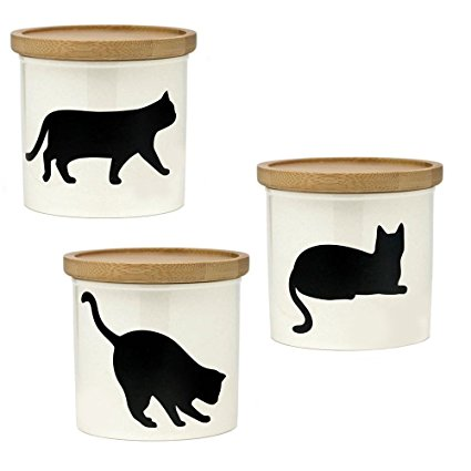 Comolife Lovely Black Cat Canister Set 3pc, S size, Cat Shaped Blackboard for Writing the Title/ Dates, Sugar/Salt/Tea/Coffee/Pasta Storage
