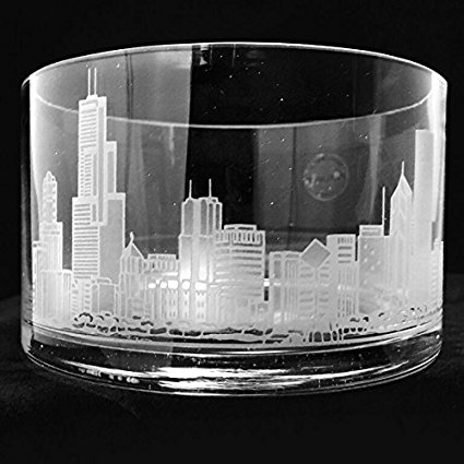Engraved crystal candy dish with Chicago skyline