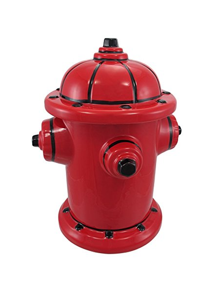 Fire Hydrant Ceramic Cookie Jar Fireman Firefighter