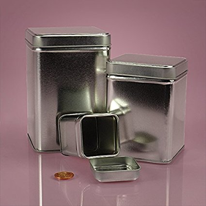 7 OZ SILVER SQUARE TIN CAN-24/PACKAGE