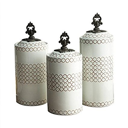 American Atelier 3 Piece White Canister Set