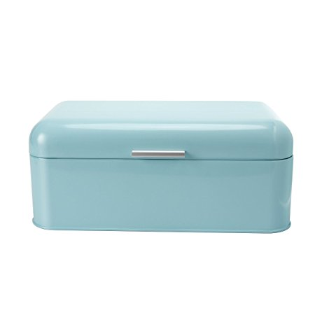 SveBake Bread Box for Kitchen Retro Design Carbon Steel Bread Bin with Powder Coating, Turquoise (Included a Free PDF Baking E-BOOK)