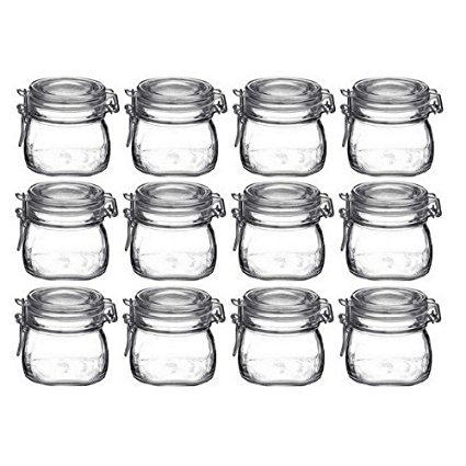 Bormioli Rocco Fido Vaso Square Jar, 17.5 Ounces, 500ml, 12 Pack.