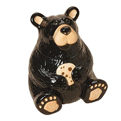Jeff Fleming BearFoots Sitting Bear Ceramic Cookie Jar by Big Sky Carvers