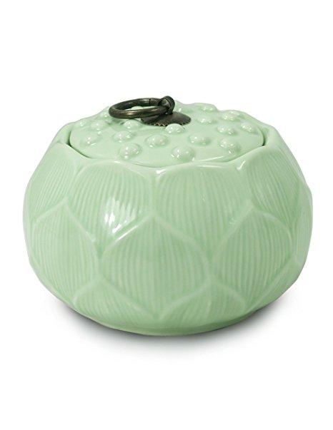 Dahlia Lotus Shaped Glazed Celadon Handcrafted Porcelain Tea Storage/Tea Caddy/Tea Canister