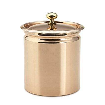 Kuprum Solid Natural Copper Décor Kitchen Canister with Lid, 0.8-Qt Display and Storage