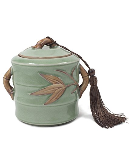 Dahlia Vintage Crackle Glaze Celadon Handcrafted Porcelain Tea Storage/Tea Caddy with Tassel, Bamboo