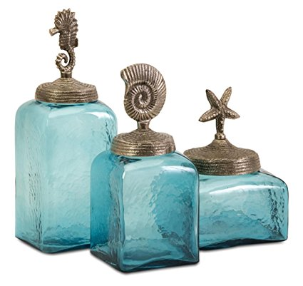 CC Home Furnishings Set of 3 Ocean Blue Glass Canister Jars with Starfish, Seahorse and Shell Lids