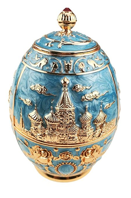 Royal Russian Style Tea Canister Engrave Castle Pattern Tin Metal Tea Container for Loose Tea Tea Jar Art Craft Ornament Home Decor (blue,castle and rose)