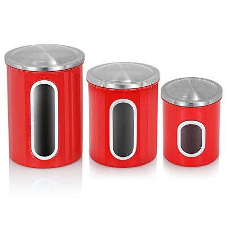 FC Stainless Steel Canister Sets with Anti-Fingerprint Lid and Visible Window, Cereal Container Set of 3 (Red)
