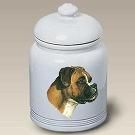 Boxer (Natural Ears): Ceramic Treat Jar 10