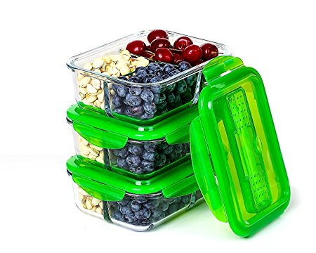 Glass Meal Prep Container Set - Food Storage & Portion Control Containers | 3 Compartments & Airtight Locking Lids With Cutlery Compartment - Microwave, Freezer, Oven & Dishwasher Safe [3-Pack, 32oz]