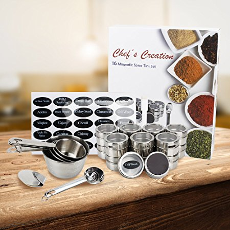 Magnetic 16pc. Spice Tin set with 4 measuring spoons, 4 measuring cups, 2 adhesive hooks and 96 spice labels and 56 blank labels. FDA APPROVED
