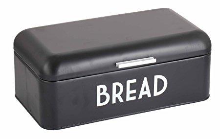 Home Basics Metal Bread Box with Lid (Black)