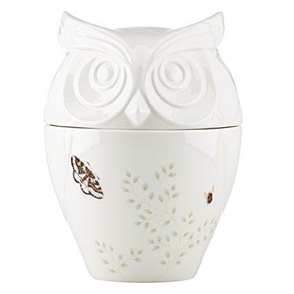 Lenox Butterfly Meadow Figural Owl Cookie Jar, White