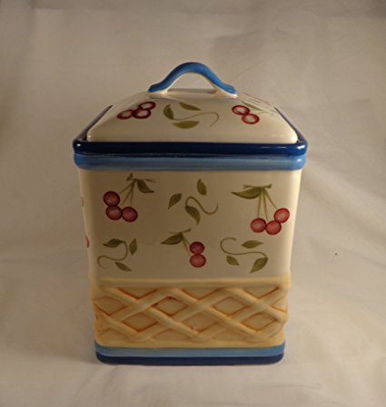 Inspirado Stonelite Cookie Jar with Cherry Design