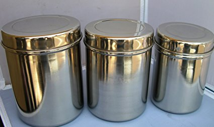 Stainless Steel Tea Tin/ Canister Container Set of 3