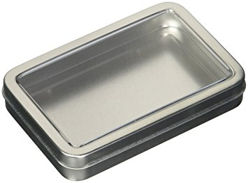 Silver Rectangular Tin w/ Hinged Lid - Silver - Pack/12