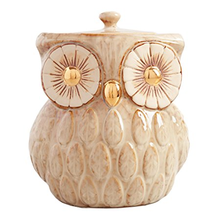Vintage Gold Metallic Reactive Glaze Owl Cookie Jar