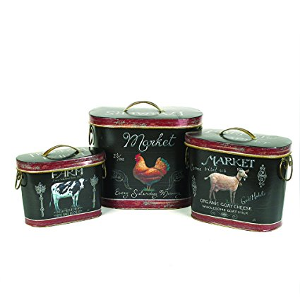 Creative Tin Containers with Lids and Farm Animal Images, 3-Pack
