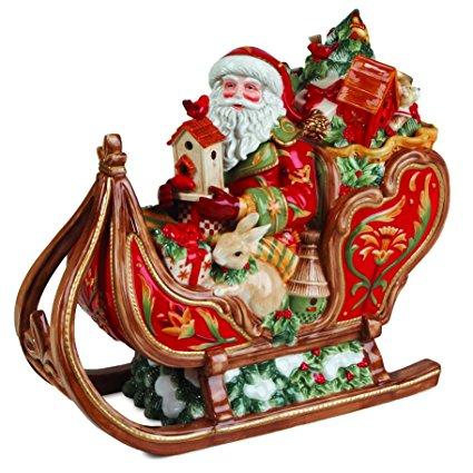 Fitz and Floyd Bellacara Santa & Sleigh Cookie Jar