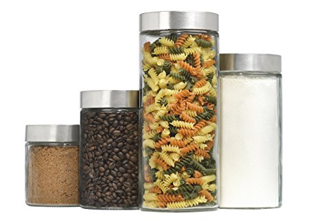 4-Piece Callista Glass Canister Set with Stainless Steel Lids