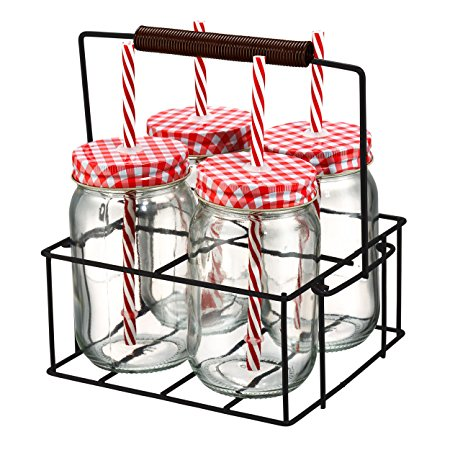 Artland Gingham Sipper Jar Set with Square Metal Caddy, Clear