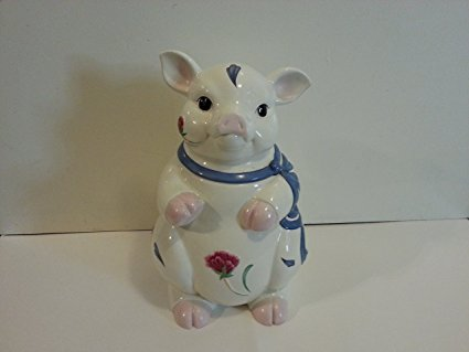Lenox Poppies on Blue Pig Cookie Jar New in Box